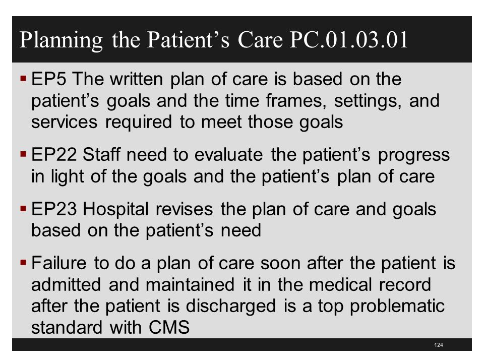 Planning the Patients Care PC.01.03.01 EP5 The written plan of care is based on the patients goals and the time frames, settings, and services require