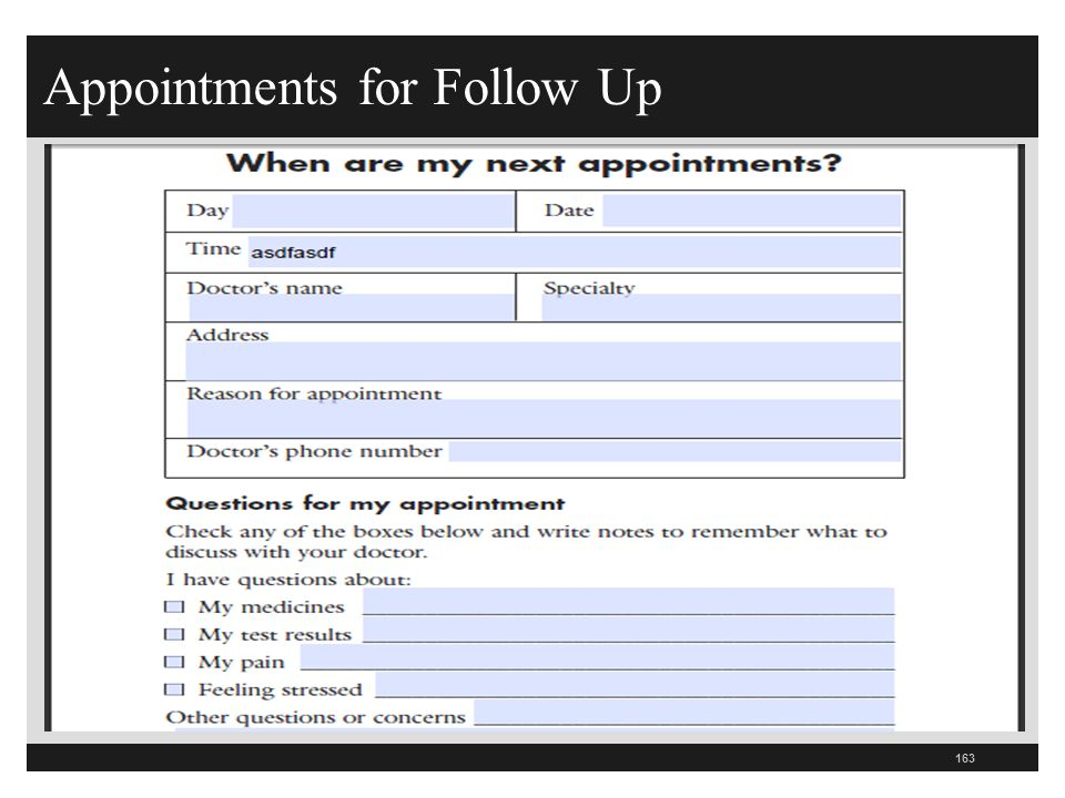Appointments for Follow Up 163