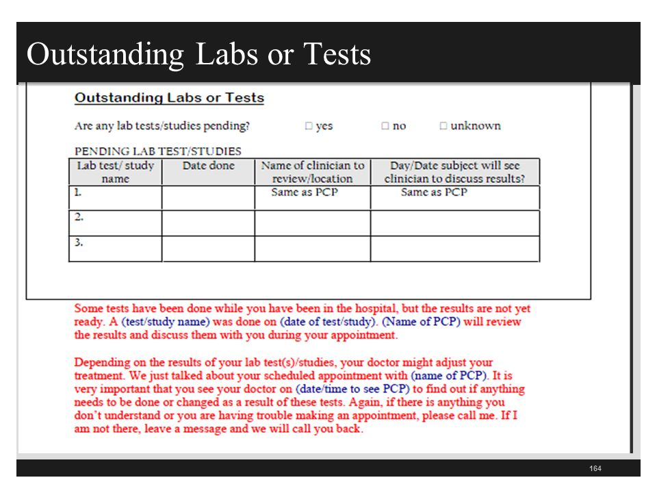 Outstanding Labs or Tests 164