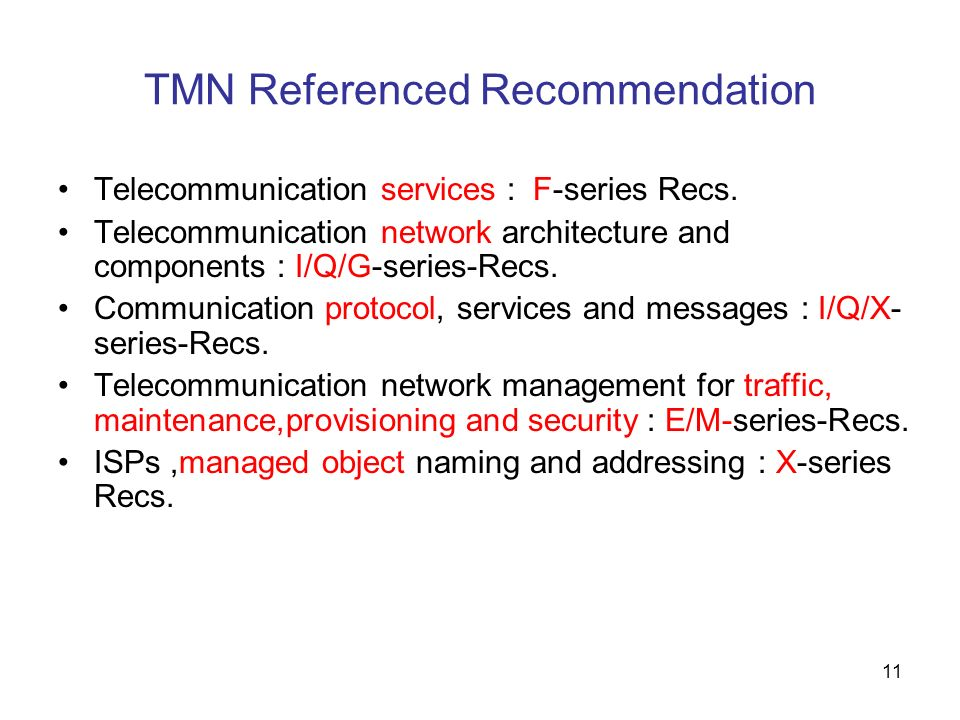 11 TMN Referenced Recommendation Telecommunication services : F-series Recs. Telecommunication network architecture and components : I/Q/G-series-Recs