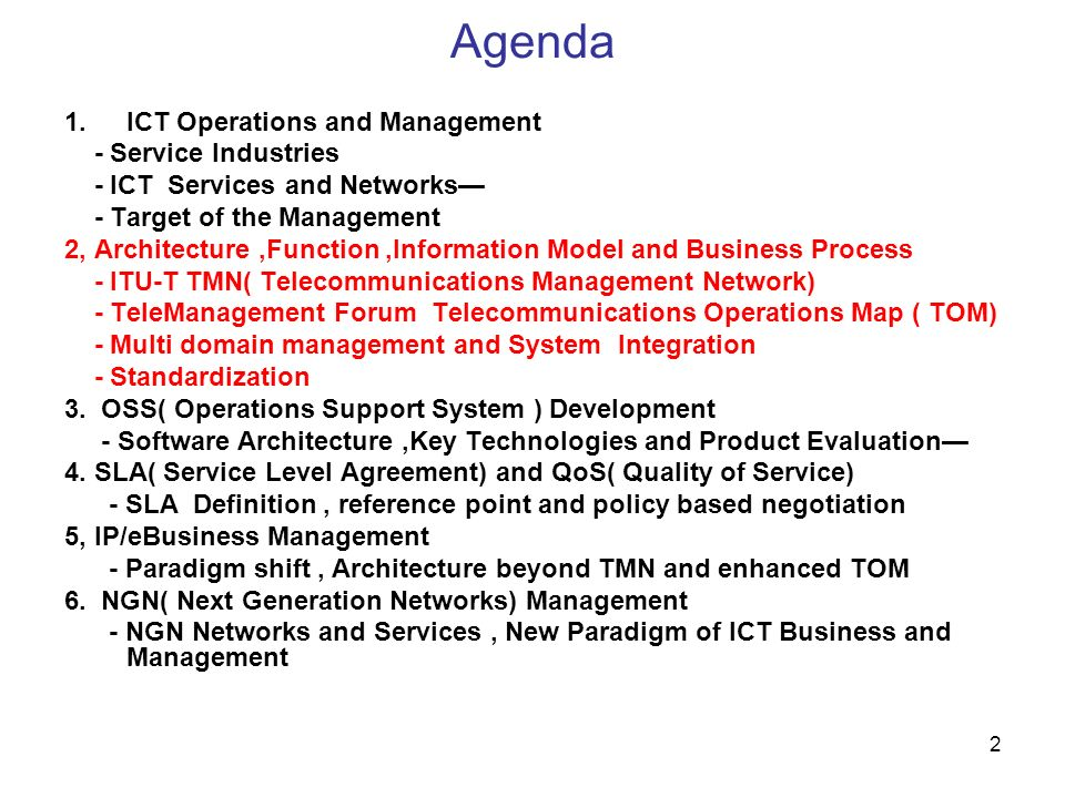 53 OSI System Management Overview System Management Managing Process Agent Process Managed Objects ( MIB) Manager Managed System Operations Notification Resource