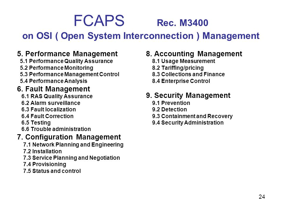 24 FCAPS Rec. M3400 on OSI ( Open System Interconnection ) Management 5. Performance Management 5.1 Performance Quality Assurance 5.2 Performance Moni