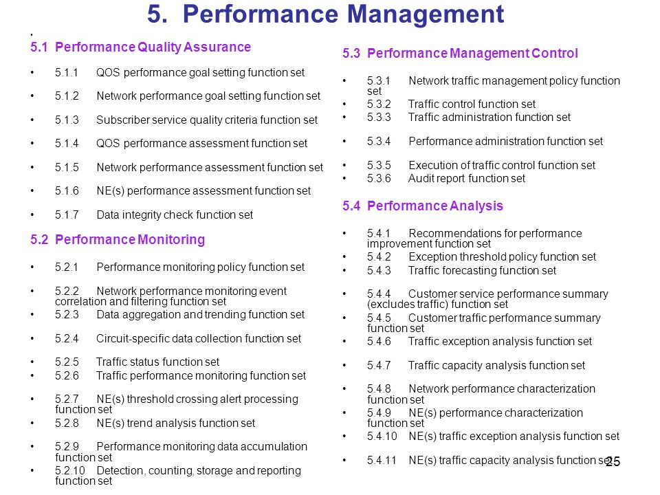 25 5. Performance Management 5.1Performance Quality Assurance 5.1.1QOS performance goal setting function set 5.1.2Network performance goal setting fun