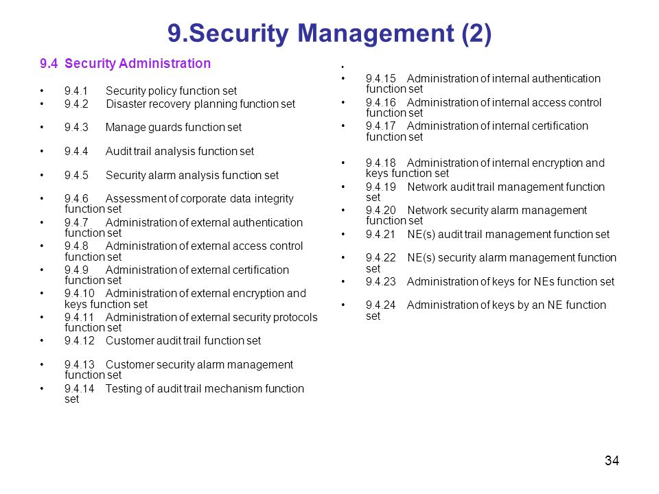 34 9.Security Management (2) 9.4Security Administration 9.4.1Security policy function set 9.4.2Disaster recovery planning function set 9.4.3Manage gua