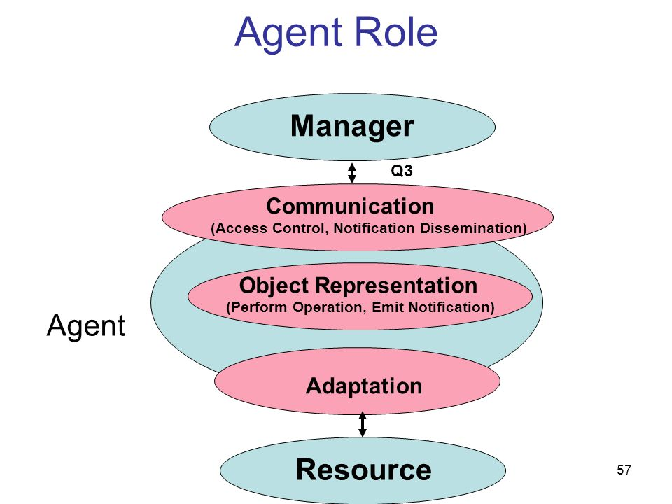 57 Agent Role Agent Manager Resource Communication (Access Control, Notification Dissemination) Adaptation Object Representation (Perform Operation, E