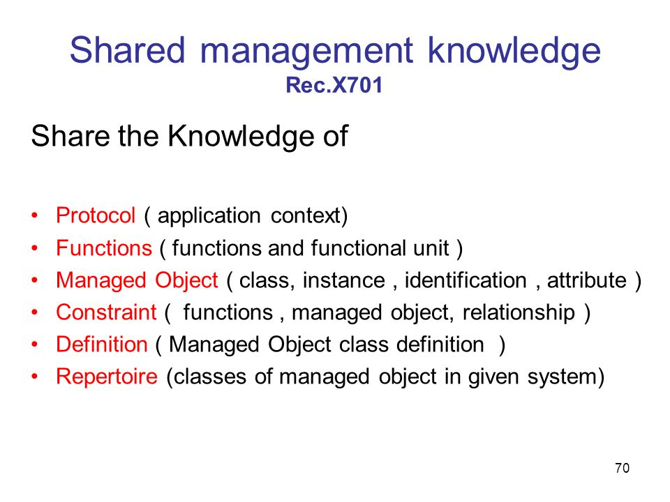 70 Shared management knowledge Rec.X701 Share the Knowledge of Protocol ( application context) Functions ( functions and functional unit ) Managed Obj
