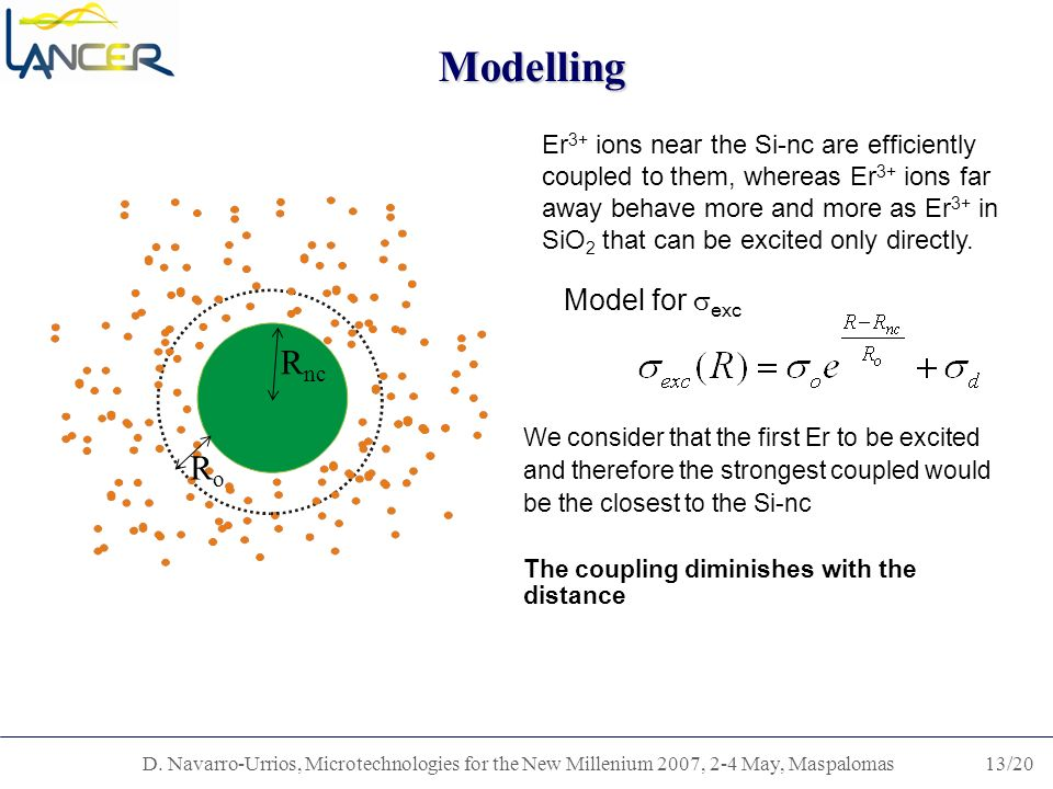 D. Navarro-Urrios, Microtechnologies for the New Millenium 2007, 2-4 May, Maspalomas13/20 Modelling Model for exc Er 3+ ions near the Si-nc are effici