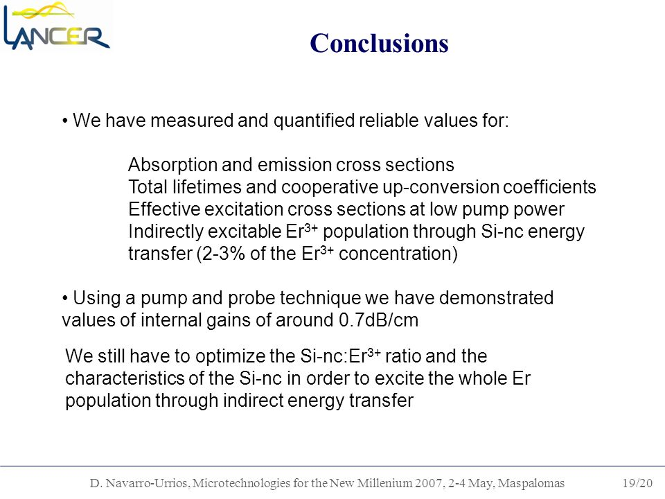 D. Navarro-Urrios, Microtechnologies for the New Millenium 2007, 2-4 May, Maspalomas19/20 Conclusions We have measured and quantified reliable values