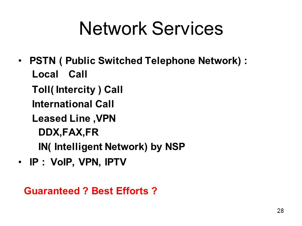 28 Network Services PSTN ( Public Switched Telephone Network) : Local Call Toll( Intercity ) Call International Call Leased Line,VPN DDX,FAX,FR IN( In
