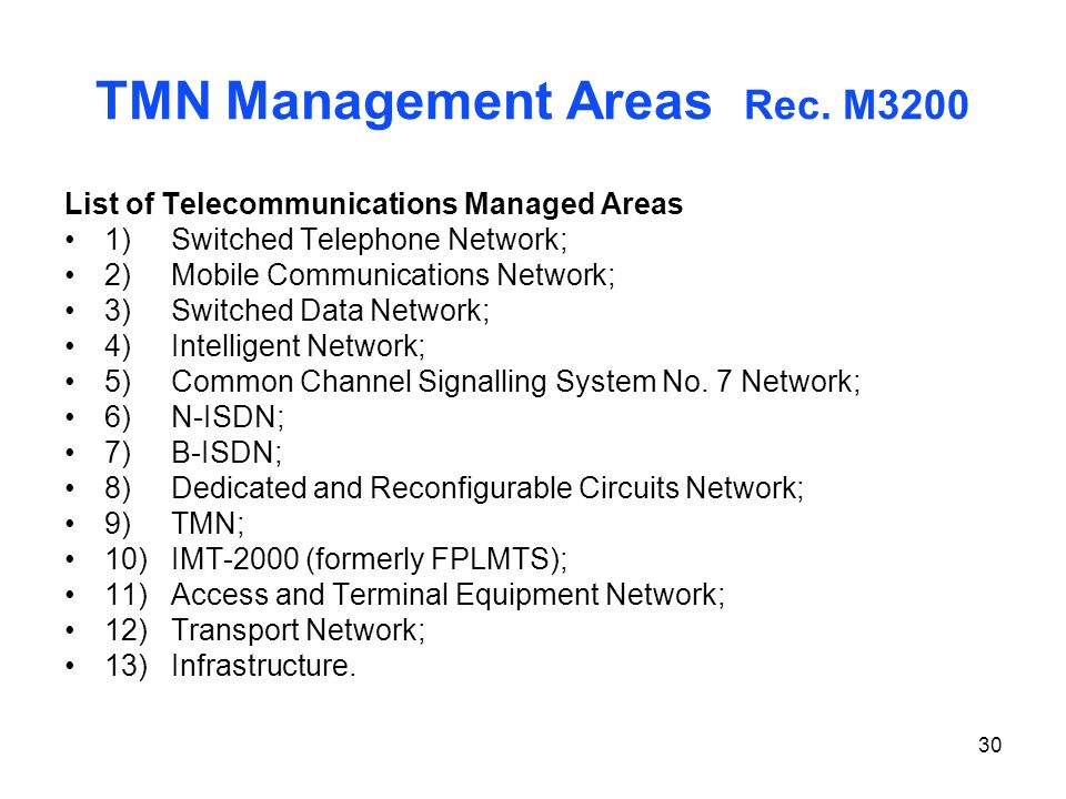 30 TMN Management Areas Rec. M3200 List of Telecommunications Managed Areas 1)Switched Telephone Network; 2)Mobile Communications Network; 3)Switched