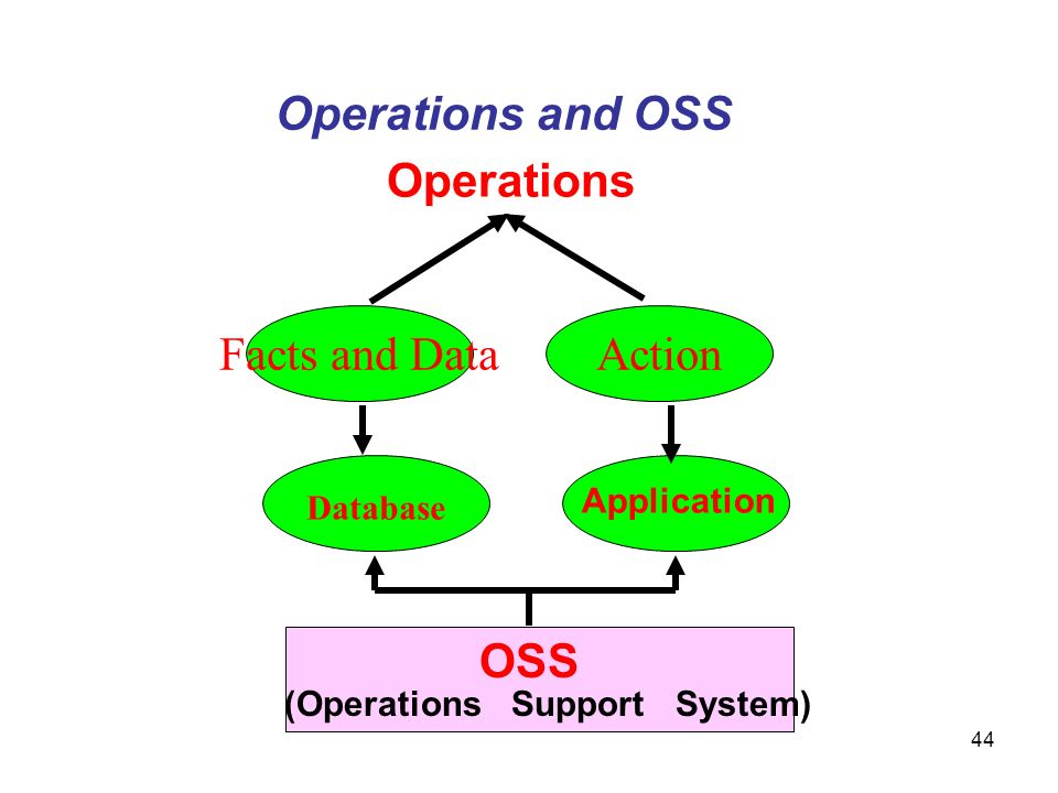 44 Operations Operations and OSS Database Application OSS (Operations Support System) Facts and DataAction