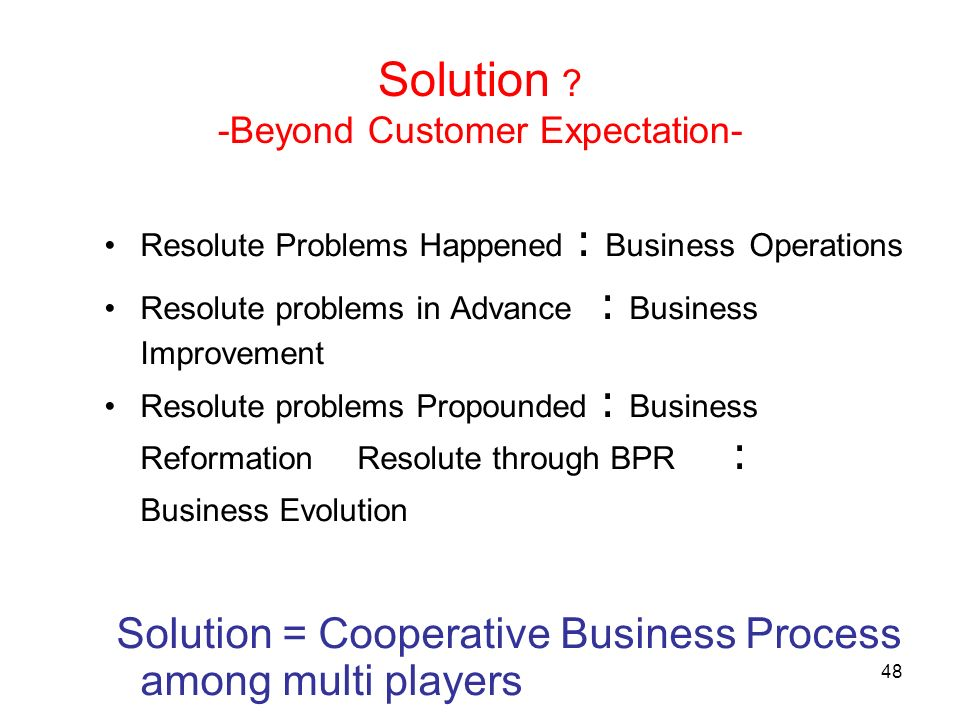 48 Solution ? -Beyond Customer Expectation- Resolute Problems Happened Business Operations Resolute problems in Advance Business Improvement Resolute