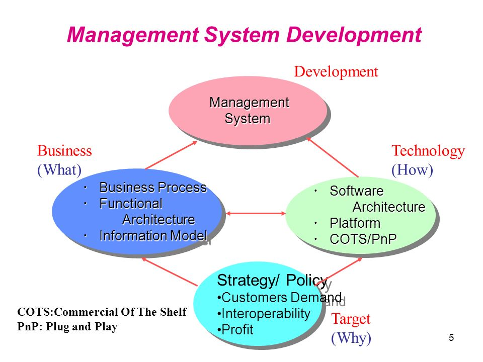 5 Software SoftwareArchitecture Platform Platform COTS/PnP COTS/PnP Software SoftwareArchitecture Platform Platform COTS/PnP COTS/PnP Business Process Business Process Functional FunctionalArchitecture Information Model Information Model Business Process Business Process Functional FunctionalArchitecture Information Model Information Model Management ManagementSystem System Management System Development Strategy/ Policy Customers Demand Interoperability Profit Strategy/ Policy Customers Demand Interoperability Profit COTS:Commercial Of The Shelf PnP: Plug and Play Target (Why) Technology (How) Business (What) Development