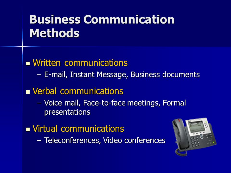Choosing a Communication Method Choose your communication vehicle based on the: Choose your communication vehicle based on the: –Nature of the information –Complexity of the message –Potential for misunderstanding –Importance of tone to the message –Potential for an ongoing conversation
