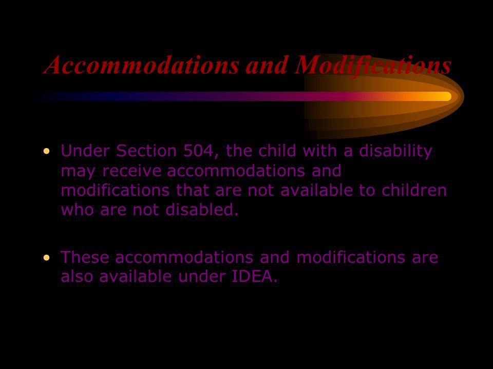 Protection from Discrimination Section 504 protects children with disabilities from discrimination. It is important to understand that if your child d