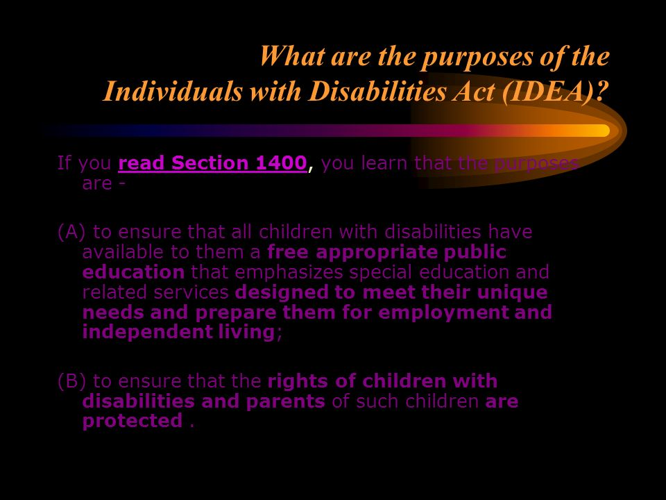 What are the purposes of Section 504 of the Rehabilitation Act? You need to understand the differences between Section 504 and the IDEA. Section 504 i
