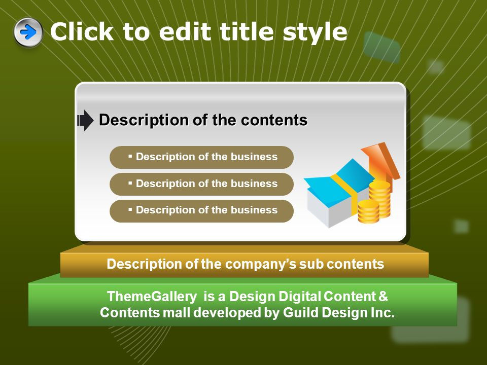 ThemeGallery is a Design Digital Content & Contents mall developed by Guild Design Inc. Description of the companys sub contents Description of the co