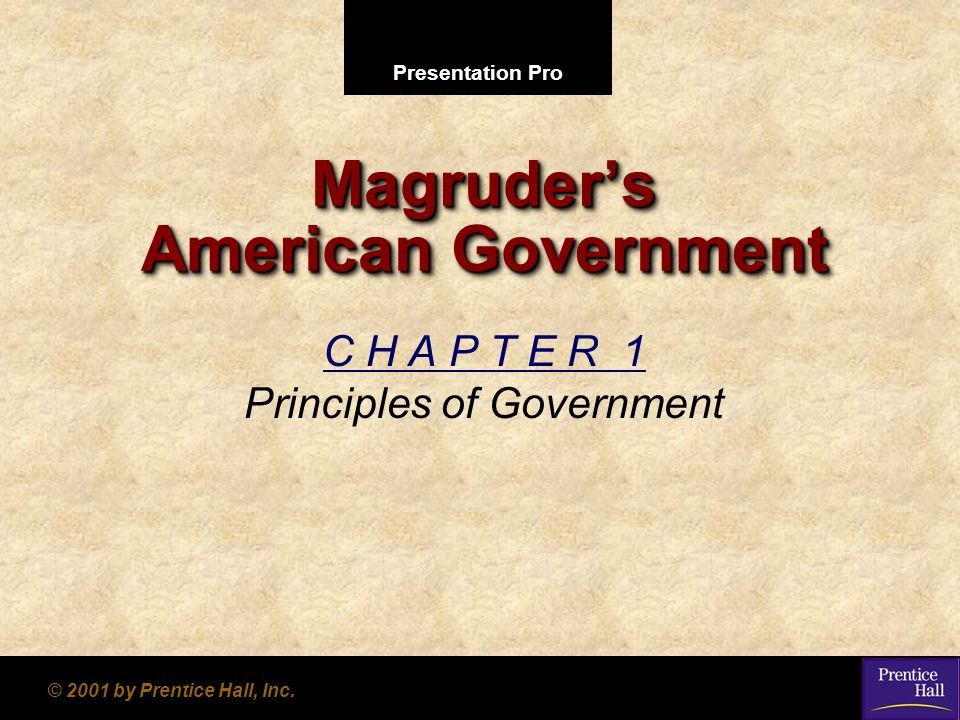 Presentation Pro © 2001 by Prentice Hall, Inc. Magruders American Government C H A P T E R 1 Principles of Government