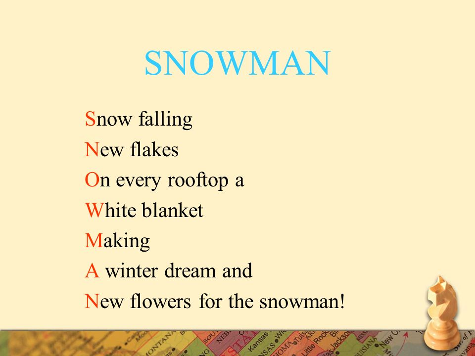 SNOWMAN Snow falling New flakes On every rooftop a White blanket Making A winter dream and New flowers for the snowman!
