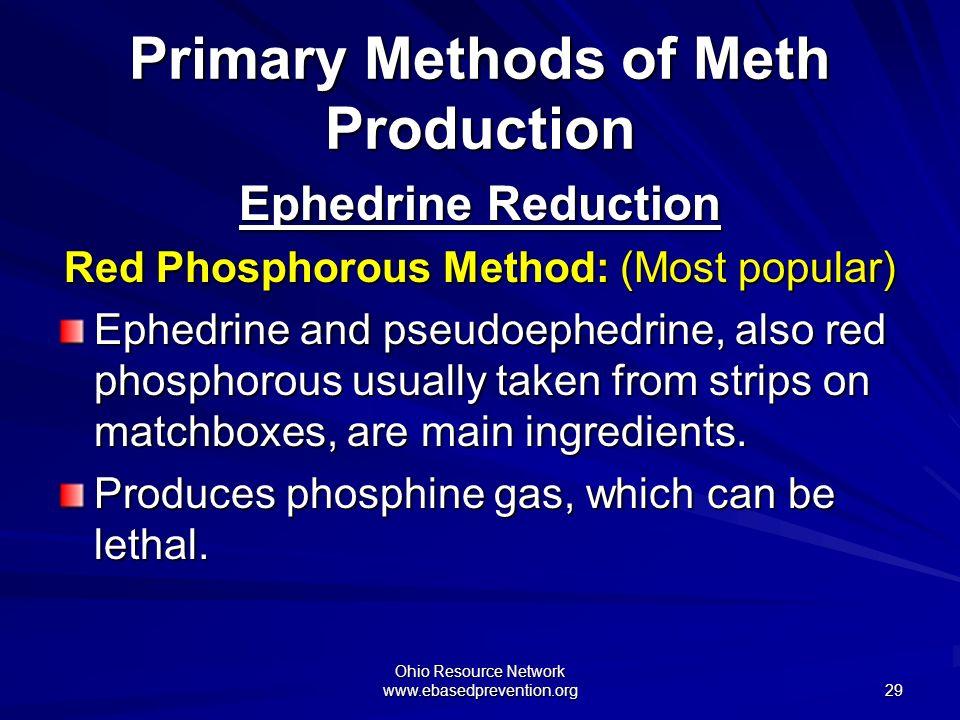 Ohio Resource Network www.ebasedprevention.org 29 Ephedrine Reduction Red Phosphorous Method: (Most popular) Ephedrine and pseudoephedrine, also red p