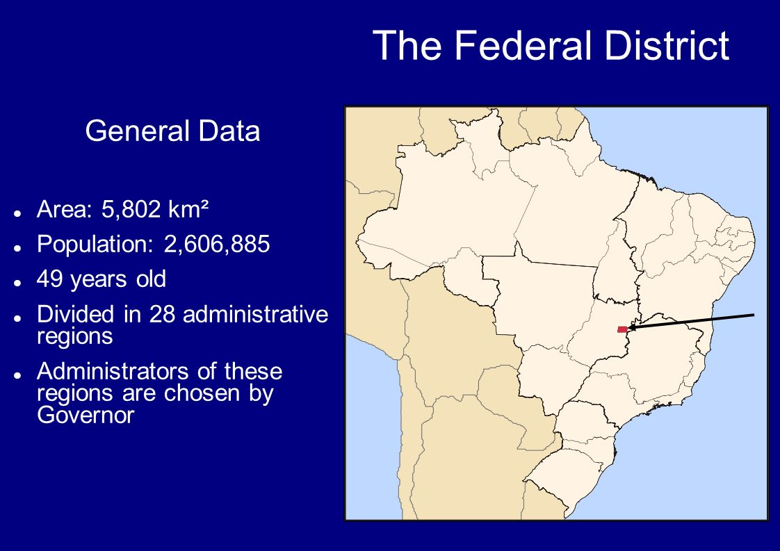 General Data Area: 5,802 km² Population: 2,606,885 49 years old Divided in 28 administrative regions Administrators of these regions are chosen by Gov