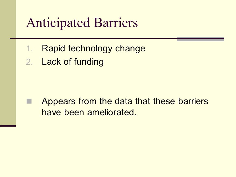 Anticipated Barriers 1. Rapid technology change 2.
