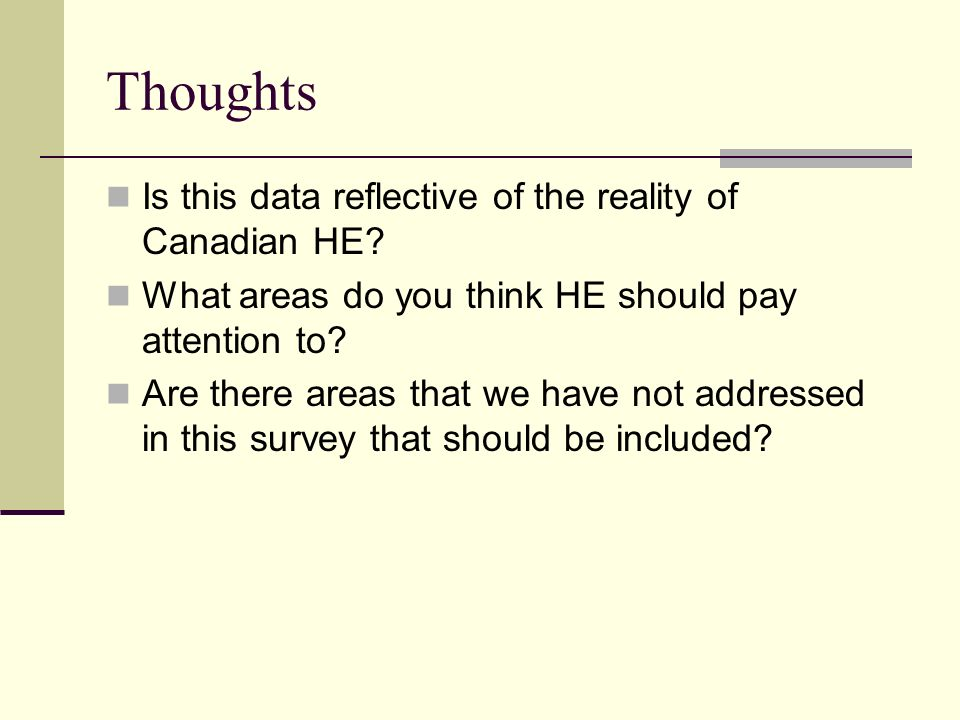 Thoughts Is this data reflective of the reality of Canadian HE.