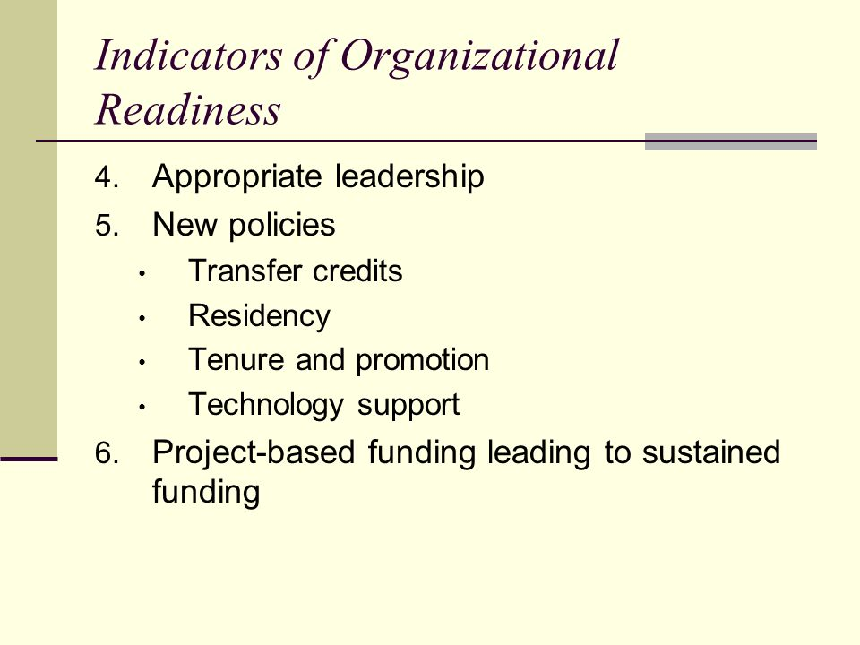 Indicators of Organizational Readiness 4.Appropriate leadership 5.