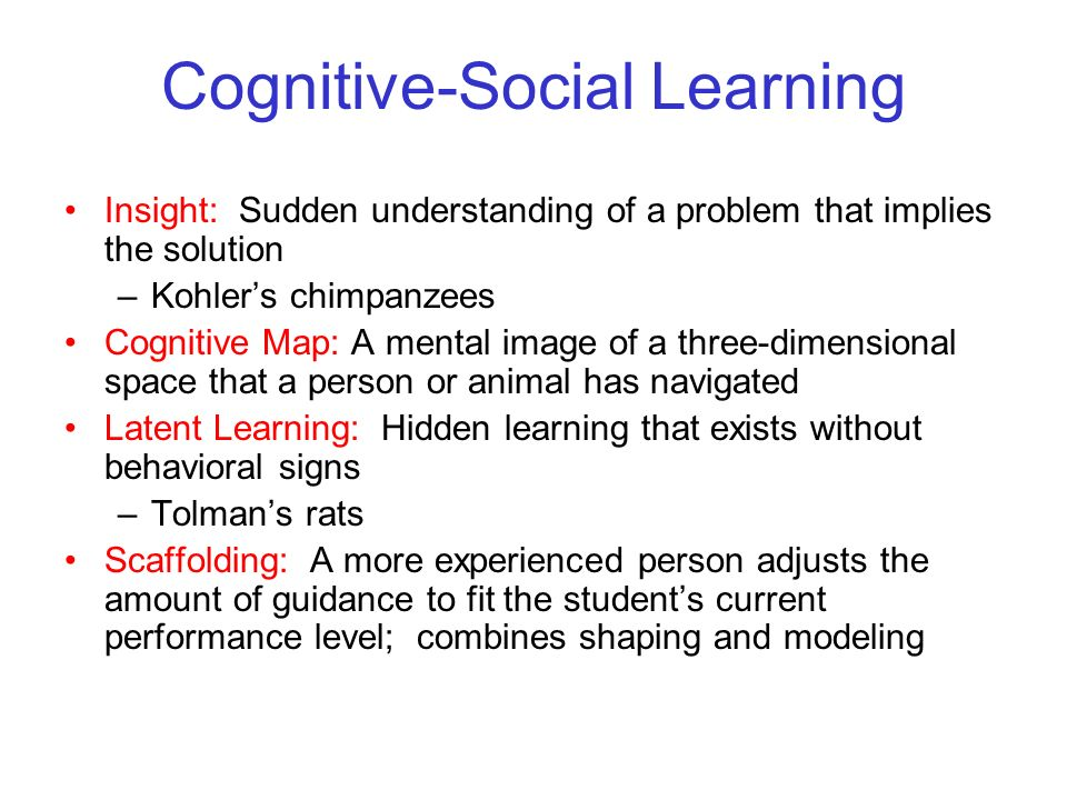 © 2004 John Wiley & Sons, Inc. Huffman: PSYCHOLOGY IN ACTION, 7E Cognitive-Social Learning Insight: Sudden understanding of a problem that implies the