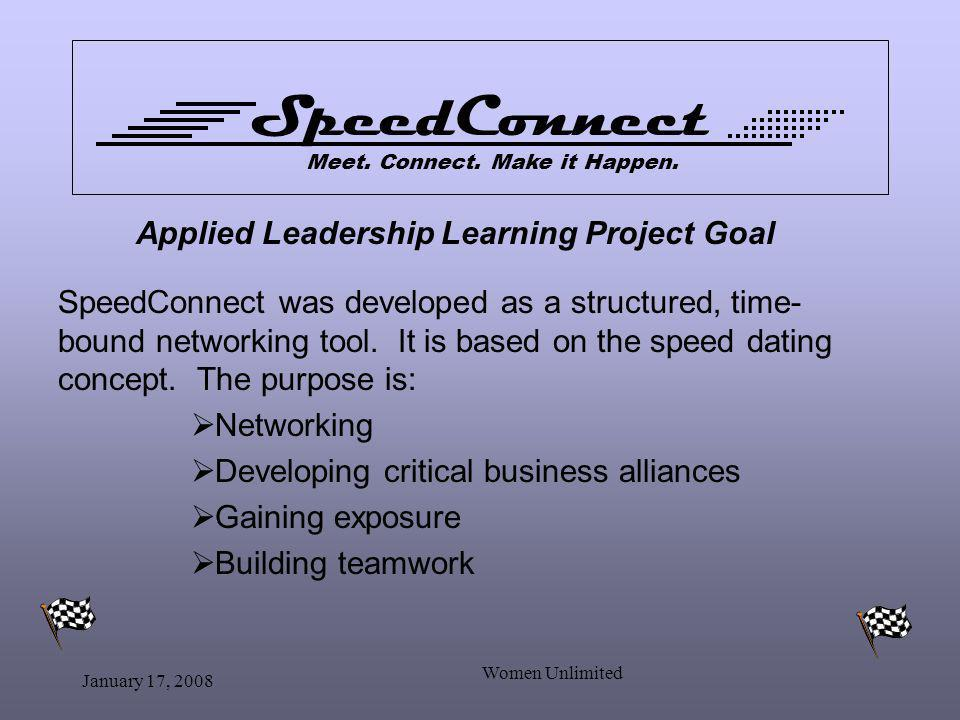 January 17, 2008 Women Unlimited Applied Leadership Learning Project Goal SpeedConnect was developed as a structured, time- bound networking tool.