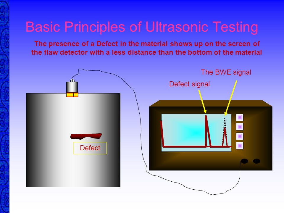 Basic Principles of Ultrasonic Testing The distance the sound traveled can be displayed on the Flaw Detector The screen can be calibrated to give accu