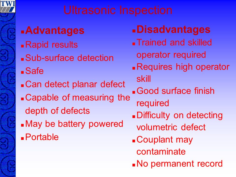 Ultrasonic Inspection 010 20304050 initial pulse defect echo CRT Display sound path Angle Probe defect Surface distance