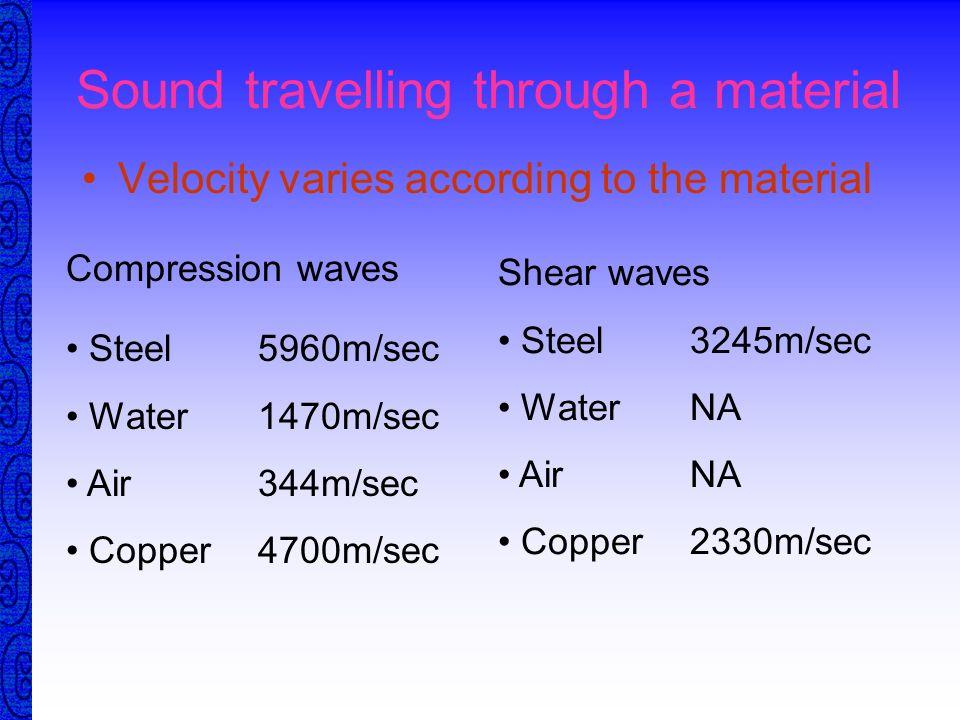 Compression v Shear Frequency 0.5MHz 1 MHz 2MHz 4MHz 6MHZ Compression 11.8 5.9 2.95 1.48 0.98 Shear 6.5 3.2 1.6 0.8 0.54 The smaller the wavelength th