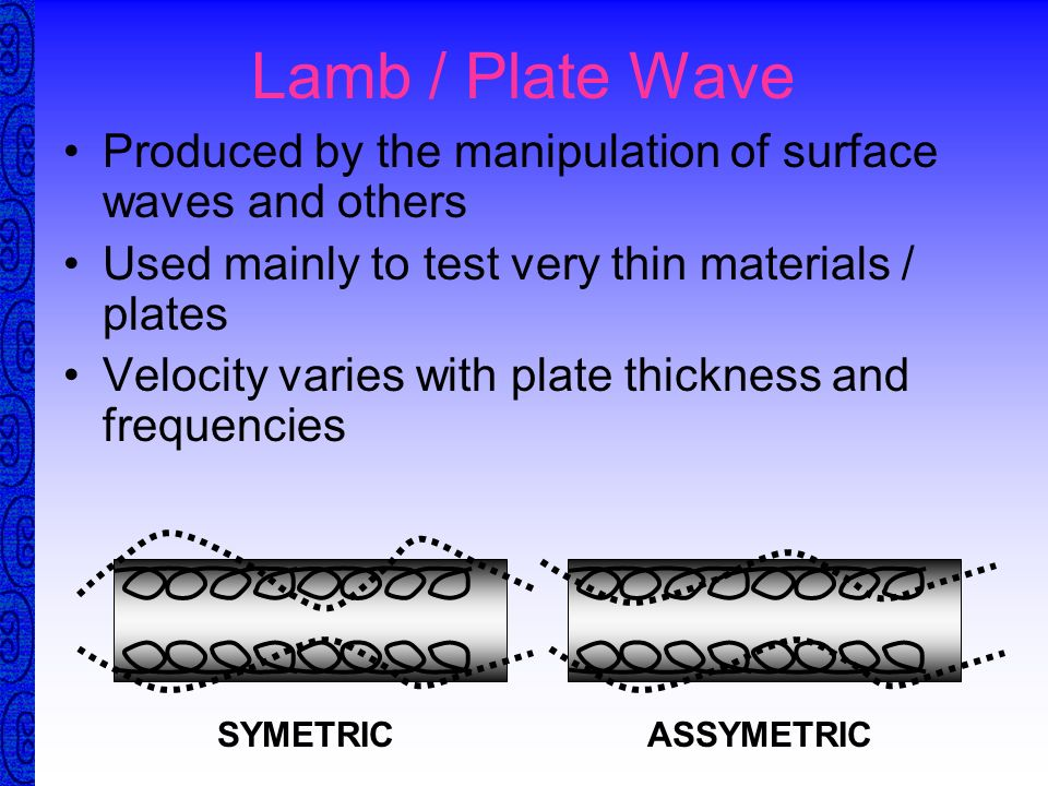 Surface Wave Elliptical vibration Velocity 8% less than shear Penetrate one wavelength deep Easily dampened by heavy grease or wet finger Follows curv