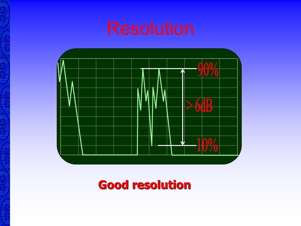 Resolution RESOLUTION in Pulse Echo Testing is the ability to separate echoes from two or more closely spaced reflectors. RESOLUTION is strongly affec