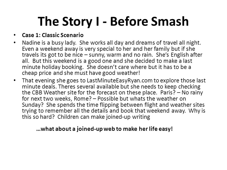 The Story I - Before Smash Case 1: Classic Scenario Nadine is a busy lady.