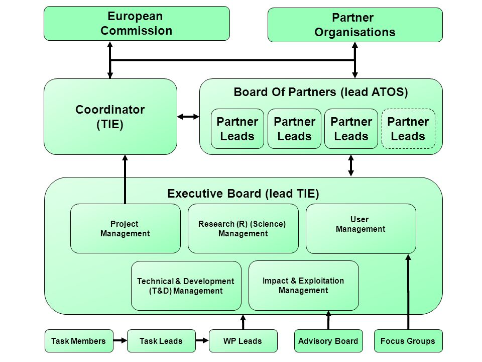 Executive Board (lead TIE) Partner Organisations European Commission Coordinator (TIE) Board Of Partners (lead ATOS) Research (R) (Science) Management Impact & Exploitation Management Technical & Development (T&D) Management User Management Task Leads Focus GroupsAdvisory Board Partner Leads Project Management WP LeadsTask Members Partner Leads