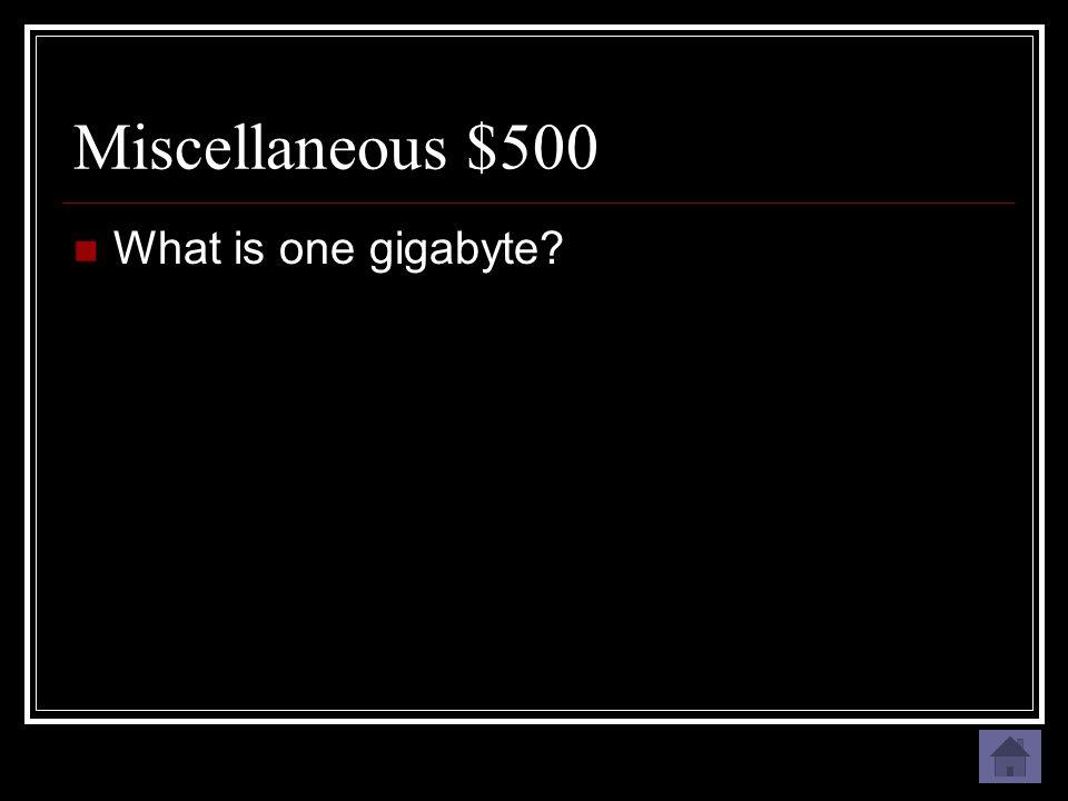 Miscellaneous $500 Approximately 1 billion bytes