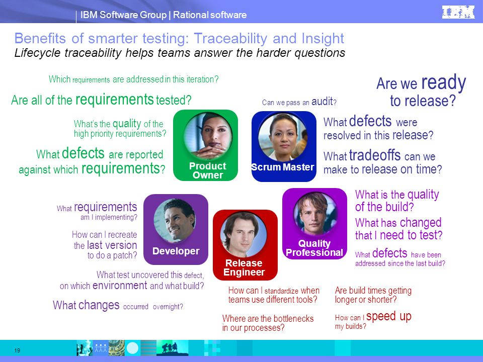IBM Software Group | Rational software 19 Benefits of smarter testing: Traceability and Insight Lifecycle traceability helps teams answer the harder q