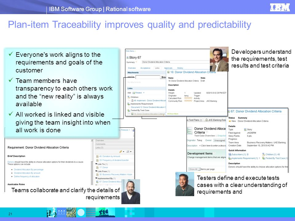 IBM Software Group | Rational software 21 Plan-item Traceability improves quality and predictability Developers understand the requirements, test resu