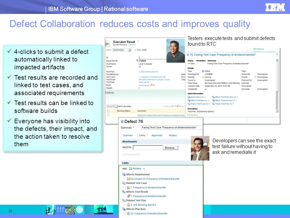 IBM Software Group | Rational software 22 Defect Collaboration reduces costs and improves quality 4-clicks to submit a defect automatically linked to