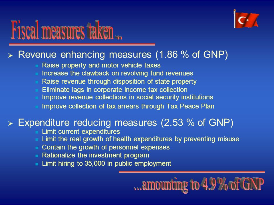 Appropriate recording of investment expenditures in the budget Ambitious targets and conservative assumptions Substantial adjustment efforts Conservative assumptions on the yield of the measures Inclusion of in-kind credits in the primary surplus also implies a further adjustment in the order of 0.5% of GNP Increased transparency Budgetary discipline