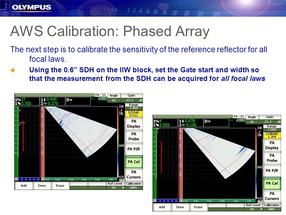 AWS Calibration: Phased Array The next step is to calibrate the sensitivity of the reference reflector for all focal laws. u Using the 0.6 SDH on the