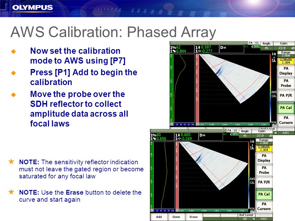 AWS Calibration: Phased Array u Now set the calibration mode to AWS using [P7] u Press [P1] Add to begin the calibration u Move the probe over the SDH