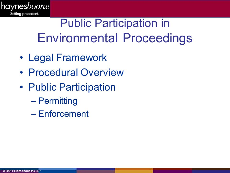 © 2004 Haynes and Boone, LLP Public Participation in Environmental Proceedings Legal Framework Procedural Overview Public Participation –Permitting –Enforcement
