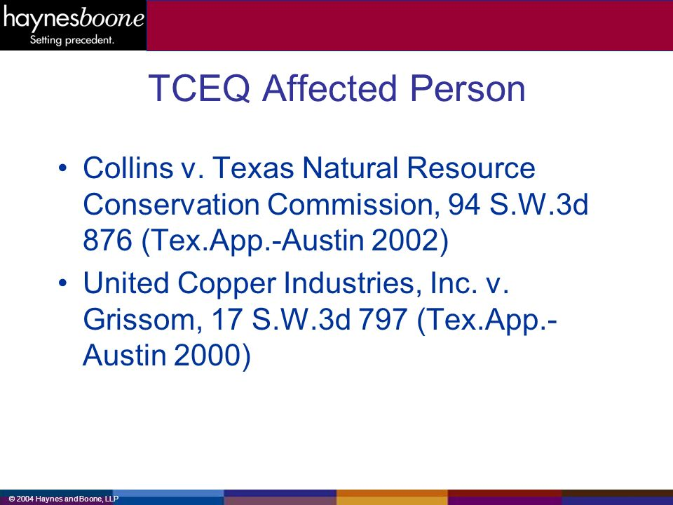 © 2004 Haynes and Boone, LLP TCEQ Affected Person Collins v.