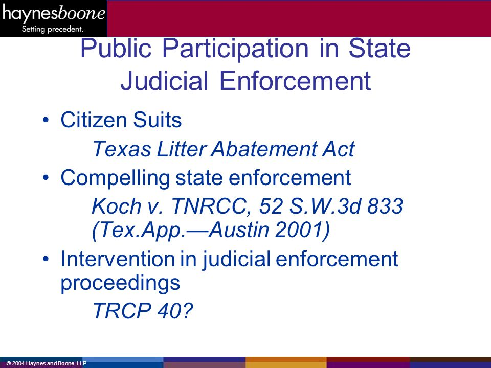 © 2004 Haynes and Boone, LLP Public Participation in State Judicial Enforcement Citizen Suits Texas Litter Abatement Act Compelling state enforcement Koch v.