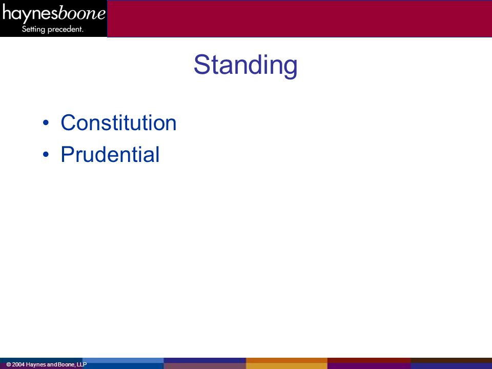 © 2004 Haynes and Boone, LLP Standing Constitution Prudential