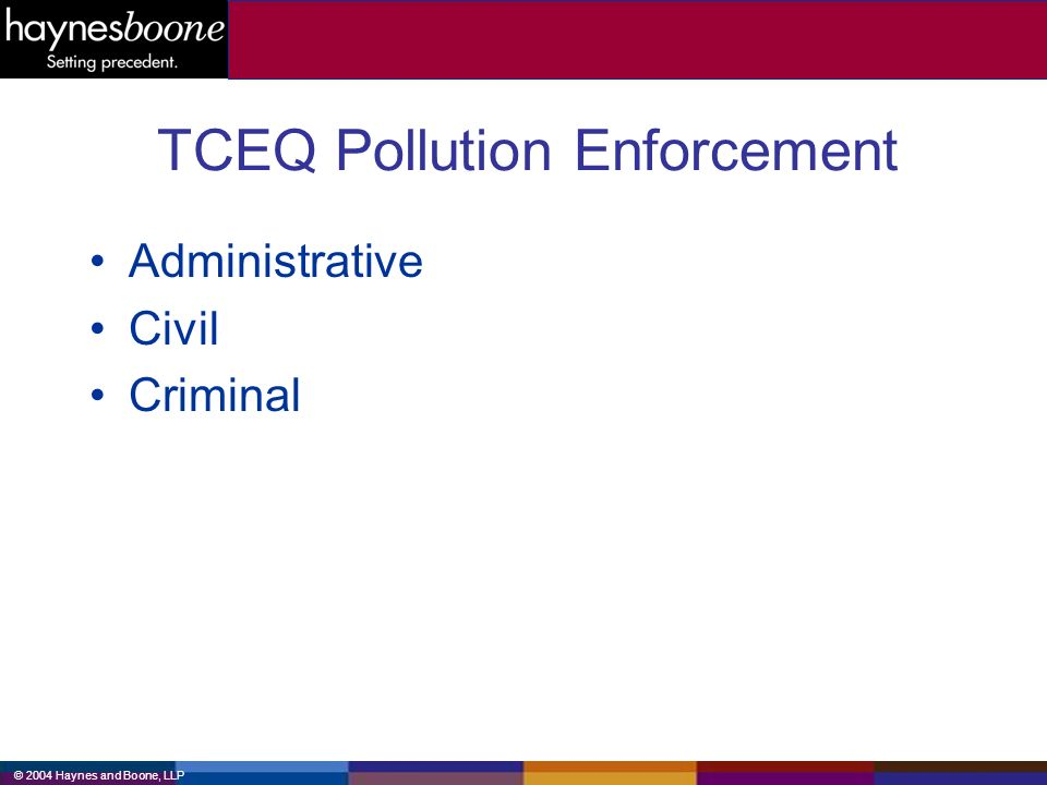 © 2004 Haynes and Boone, LLP TCEQ Pollution Enforcement Administrative Civil Criminal