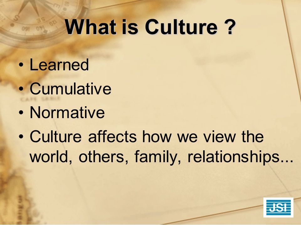 What is Culture ? Learned Cumulative Normative Culture affects how we view the world, others, family, relationships...